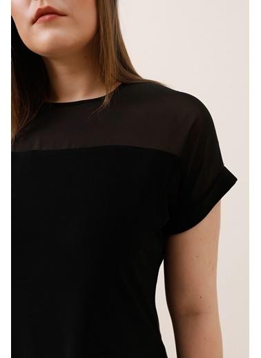 Gusto Şifon Garnili Bluz - Siyah Şifon Garnili Bluz - Siyah Siyah